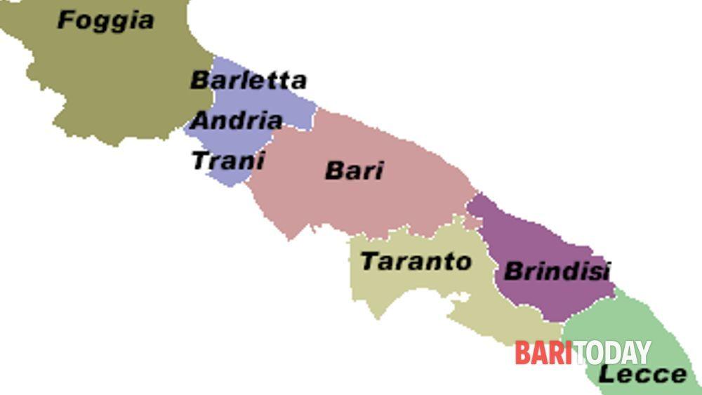 Cartina Puglia Con Province.Accorpamento Province Abolite Bat Brindisi E Taranto